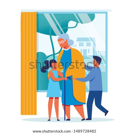 Children Visit Grandmother Vector Illustration. Happy Old Lady and Cheerful Kids Cartoon Characters. Little Grandson and Granddaughter Hugging Granny. Elderly Woman with Glasses and Cane