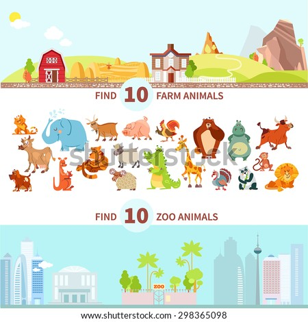 Children visual puzzle,maze game to match animals to farm and zoo.Cartoon characters set. Vector illustration