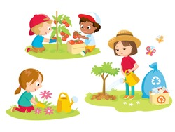 children volunteering  in the farm garden