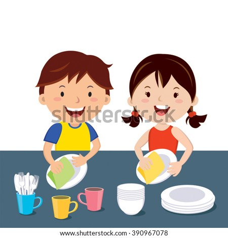 Children washing dishes. Happy kids doing house chores together.