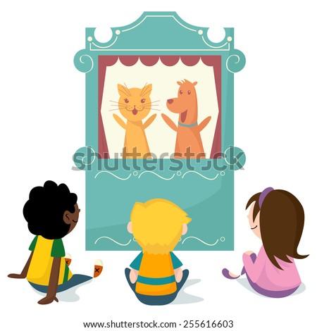 Children watching puppet show, vector illustration