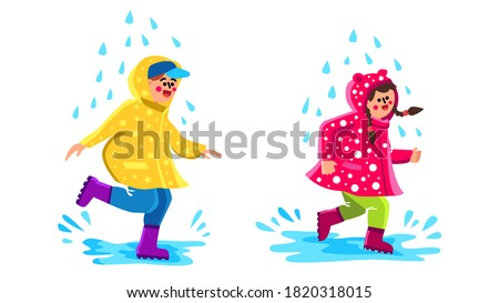 children wearing raincoat