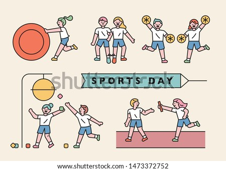children who play various games on sports day. flat design style minimal vector illustration.