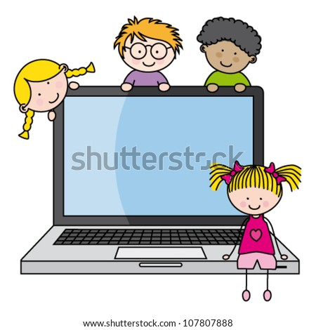 children with a computer. Funny vector, isolated on white background