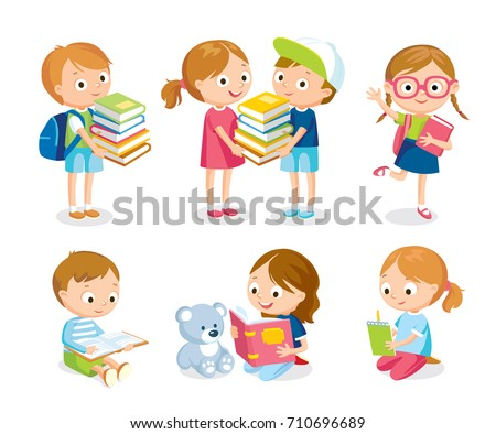 Children with books and backpacks
