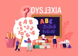 Children with Dyslexia Disorder Study in Special School. Tiny Kids Characters Listen Teacher in Class front of Huge Blackboard with Stationery around and Child Head. Cartoon People Vector Illustration