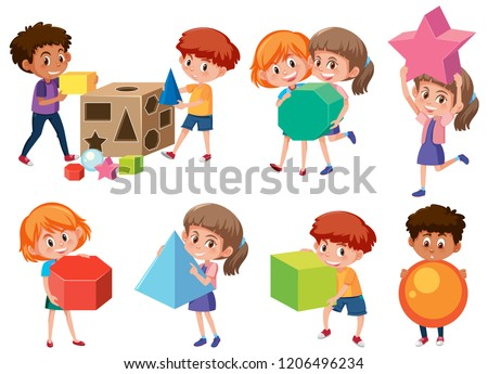 Children with math shape illustration