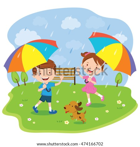 Children with multicolored umbrellas. Vector illustration of a little boy and girl enjoy rainy day.