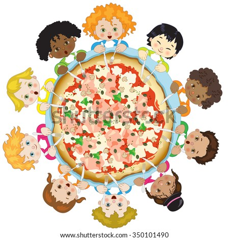 Children with Pizza on White Background