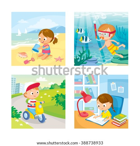 children with summer background