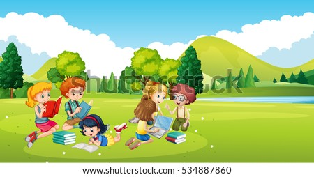 Children working and reading book in the park illustration