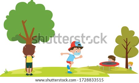 Childrens are playing hide and seek together at park while using medical mask Stock photo ©