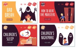 Childrens bad dreams, fears and nightmares. Scared by terrible black monsters and zombies kids in bed dont sleep at night. Vector illustrations. Landing page templates