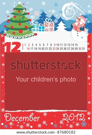 Childrens calendar for the month of December