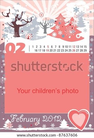 Childrens calendar for the month of February
