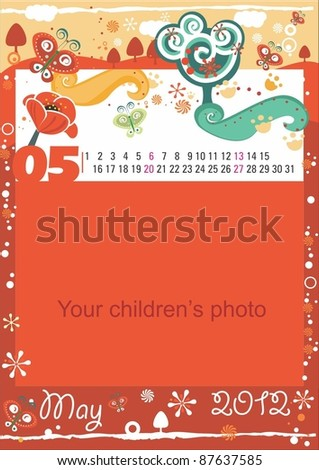 Childrens calendar for the month of May