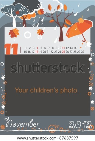 Childrens calendar for the month of November