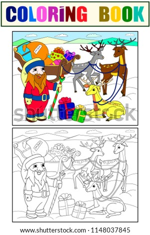 Stock Photo Childrens color and coloring cartoon animal friends in nature. Santa claus on the north pole next to sleighs and magical deer. Anti-stress for adult. Black and white lines
