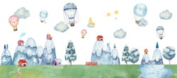 childrens illustration with balloons, mountain landscape, trees, forest, houses in the mountains, clouds,  illustration pastel gentle colors