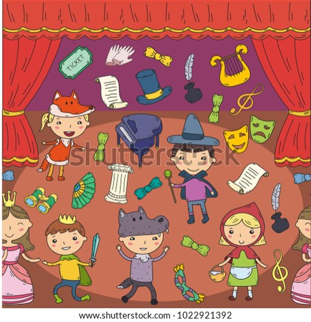 Childrens performance in the theater. Kindergarten musical. School kids playing. Stage, entertaiment, cinema. Little actors