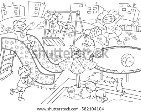 childrens playground coloring