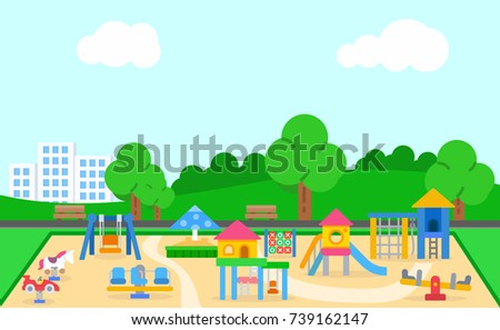 Childrens playground vector illustration. Landscape of the playground with swings, slide, sandbox, merry-go-round and more.