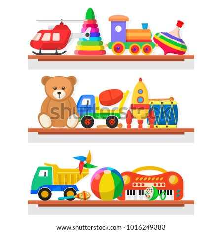 Childrens toys on the shelves. Wood, paper, plastic colorful toys for children, objects for a child to play with. Vector flat style cartoon illustration isolated on white background