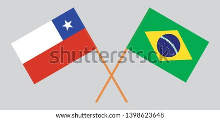 Chile and Brazil. Chilean and Brazilian flags