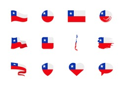 Chile flag - flat collection. Flags of different shaped twelve flat icons. Vector illustration set