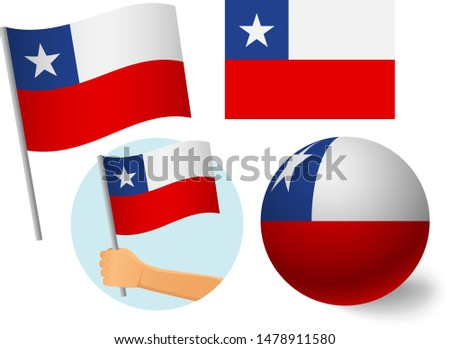 Chile flag icon set. National flag of Chile vector illustration