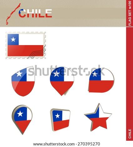 Chile Flag Set, Flag Set #100. Vector. #270395270