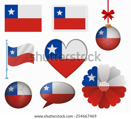 Chile flag set of 8 items vector #254667469