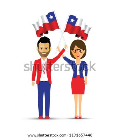 Chile flag waving man and woman