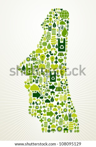 Chile go green. Eco friendly icon set in Easter Island shape illustration background. Vector file layered for easy manipulation and custom coloring.