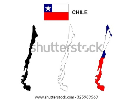 Chile map vector, Chile flag vector, isolated Chile
