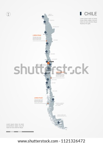 Chile map with borders, cities, capital Santiago and administrative divisions. Infographic vector map. Editable layers clearly labeled.