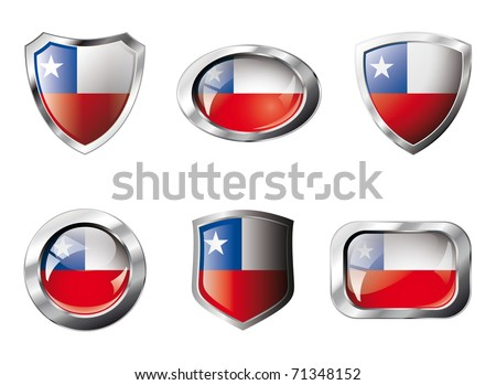 Chile set shiny buttons and shields of flag with metal frame - vector illustration. Isolated abstract object against white background.