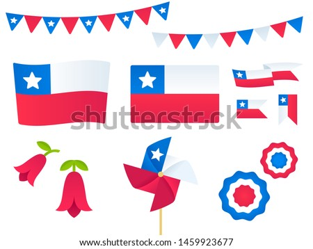 Chile vector design elements set. Flags, ribbons, pinwheels, rosettes, national flower Copihue. Fiestas Patrias (Dieciocho), Chilean Independence Day.