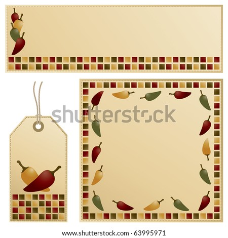 chili pepper banner, card and tag stationery set