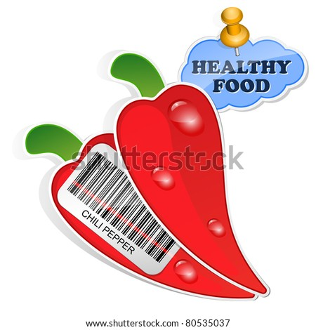 Chili pepper icon with barcode and healthy food sticker for Barcode food