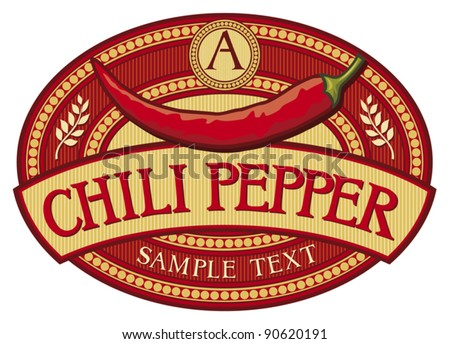 chili pepper label - stock vector