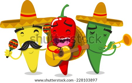 chili peppers as mariachi