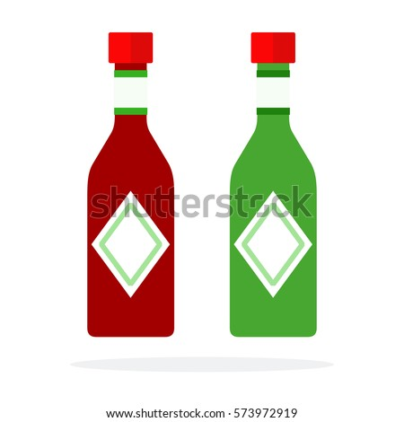 Chili sauce and Pesto sauce in bottles vector flat material design isolated on white