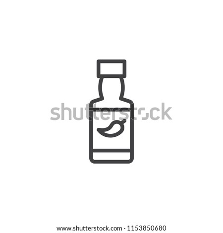Chili sauce bottle outline icon. linear style sign for mobile concept and web design. Hot Spicy Chili Pepper Sauce simple line vector icon. Symbol, logo illustration. Pixel perfect vector graphics