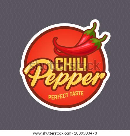 Chilli pepper logo for food label or sticker. Concept for farmers market, organic food, natural product design. Vector illustration. EPS 10