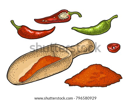 Chilli whole, half, slice and crushed pieces in wood scoop. Vector vintage color engraved illustration. Isolated on white background. Hand drawn design element for menu, poster, label
