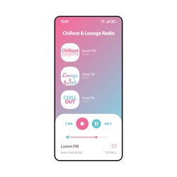 Chillout & lounge radio smartphone interface vector template. Mobile music player app page modern design layout. Audio playlist, albums listening screen. Flat UI for application. Phone display