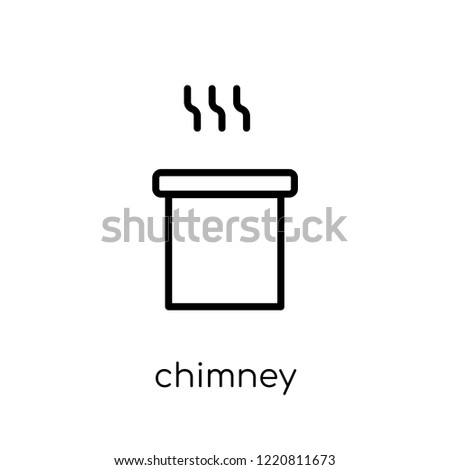chimney icon. Trendy modern flat linear vector chimney icon on white background from thin line collection, outline vector illustration