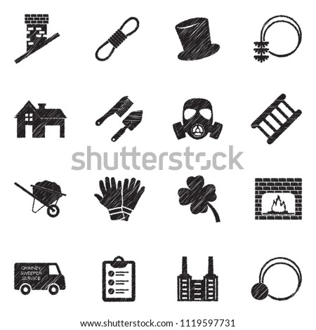 Chimney Sweeper Icons. Black Scribble Design. Vector Illustration.