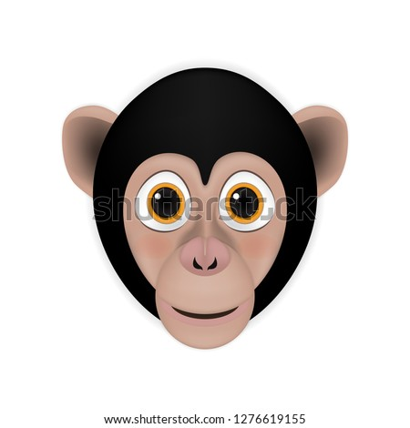 Chimpanzee head cartoon vector
